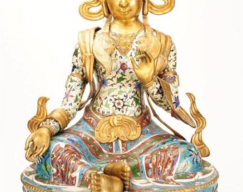 "19th C. Fabulous Chinese Cloisonne & Gold Gilt 31"" Huge Temple Buddha-Rare"