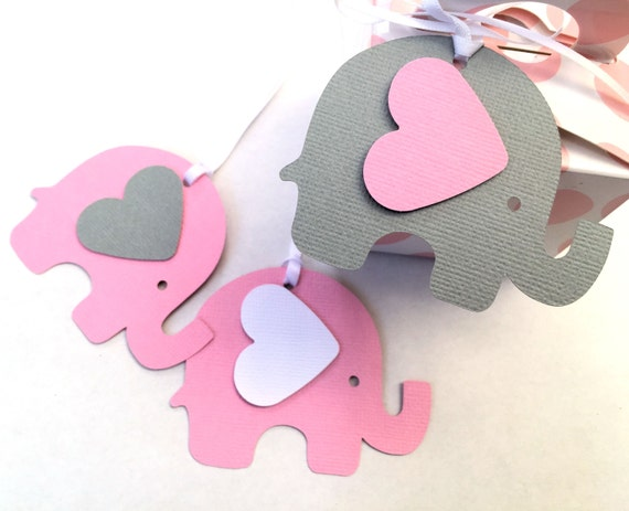 pink gray elephant baby shower gift tags for gifts first birthday