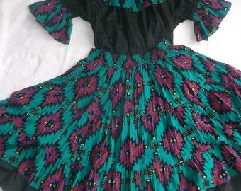 Square Dance Dress in Southwestern print
