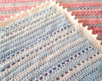 Crochet Baby Afghan, Blue Blanket With Soft White Stripes And White Border, Baby Shower Gift, New Mums.