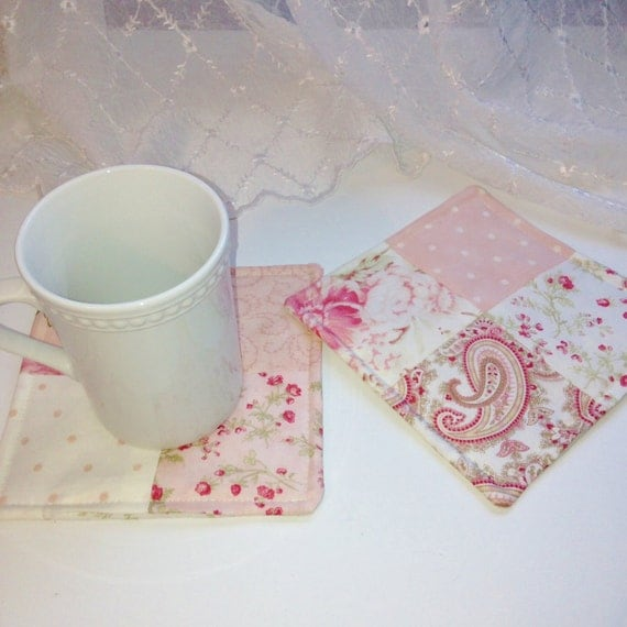 Shabby Chic Mug Rugs Quilted Fabric Coasters By