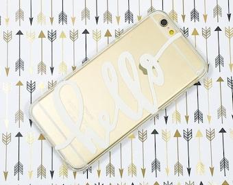 "Clear Plastic Case Cover iPhone 6Plus (5.5"") Hello"