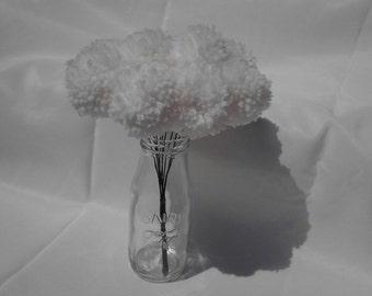 12 White yarn pom pom flowers. Pom pom bouquet centerpieces. Wedding/ baby shower decorations. Home decor.