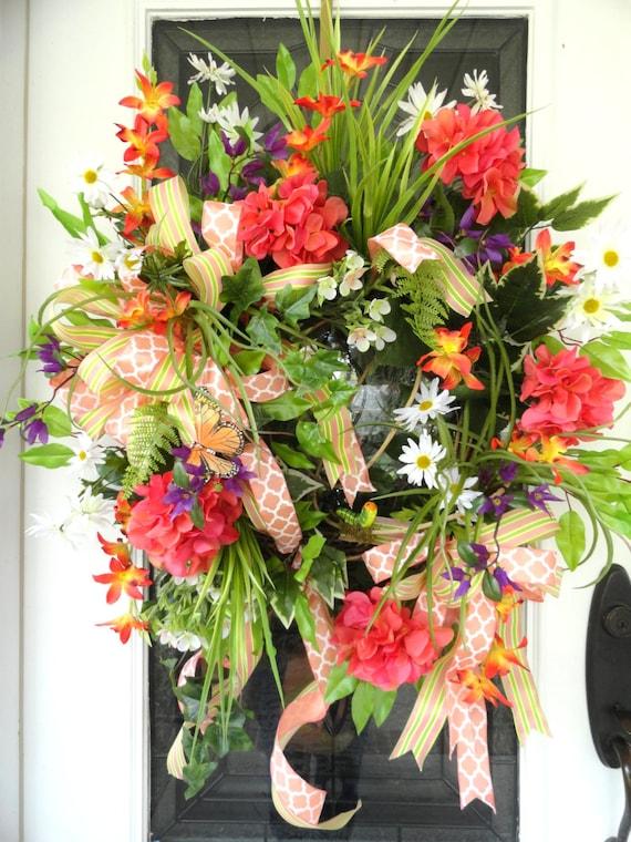 Coral Hydrangea Summer Door Wreath With Dainty White Daisies