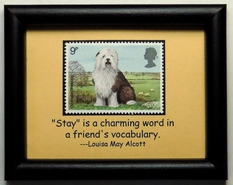 Old English Sheepdog Dog -Handmade Framed Postage Stamp Art 0420W