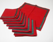 Set of 8 Vintage 1960s Handmade Christmas Cocktail Napkins - Woven cotton-linen blend - red with green ribbon trim