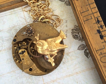 Sparrow Steampunk pocket watch necklace .Handcrafted steampunk artistic jewelry -The Victorian Magpie