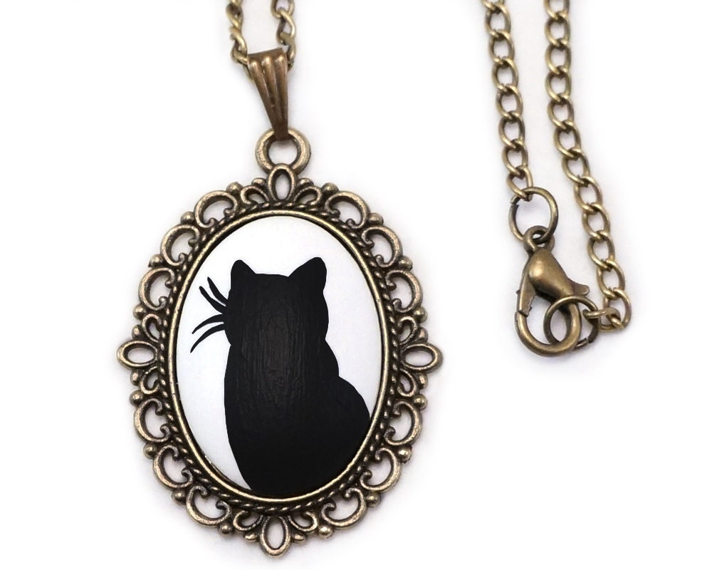 cat jewelry cat necklace cat jewelry black cat necklace black cat jewelry 4494
