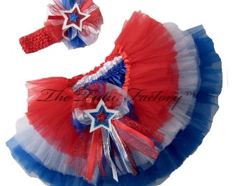 4th of July Tutu . Little Girls to Adult Plus Sizes . TIERED Americana Tutu Red Tutu . White Tutu . Blue Tutu . Short Length 11in