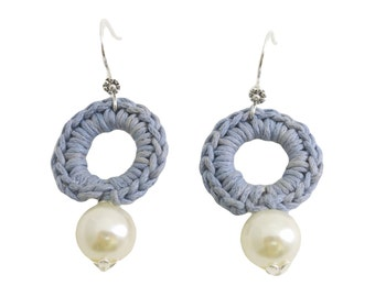 Circle earrings crochet in light blue cotton rope and little syntetic pearl . Luxury, in Fashion, crochet jewelvery, Textile Jewelry.