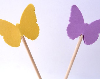 24 Lavender Yellow Butterfly Toothpick Cupcake Toppers, Food Picks, Theme Party Picks