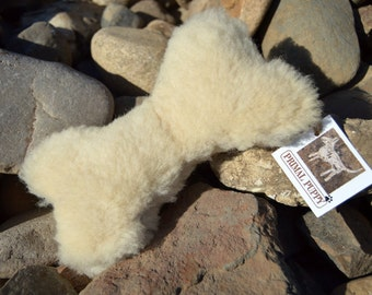 Dog Bone Toy with Squeaker - Real Sheepskin - Durable - by Primal Puppy