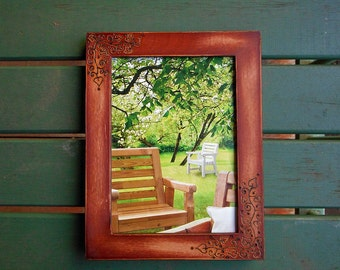 Wood burned Picture Frame with Vines and Leaves