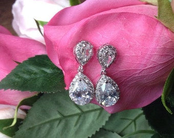 Beautiful Crystal Chandelier Drop Earrings Bridal Earrings 1920s Art Deco Silver Earrings