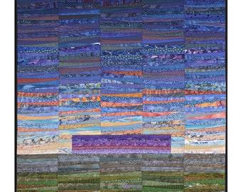 """Modern quilt. Abstract landscape. Distant mountains. 45x45"""". Abstract textile art. Modern fiber art. Contemporary textile art. Original art."""