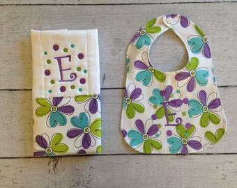 Personalized Baby Bib, and Burp Cloth Set