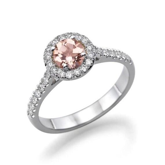 morganite engagement ring 14k white gold ring 0 72 tcw