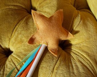Children's Felt Wand, Mustard Yellow Star with tri-color ribbons