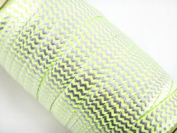 "Key Lime Green with Silver Metallic Chevron 5/8"" Fold Over Elastic 1 ..."