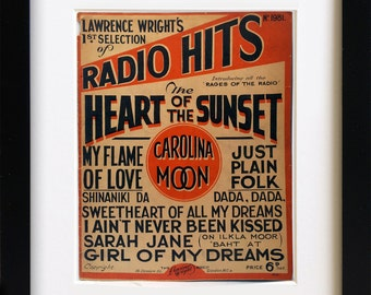 Vintage Sheet Music 'Radio Hits' Song Book
