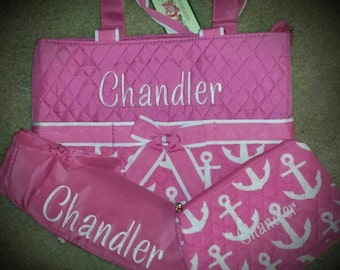 3 Piece Personalized Pink Anchor Diaper Bag with Changing Pad And Cosmetic Case