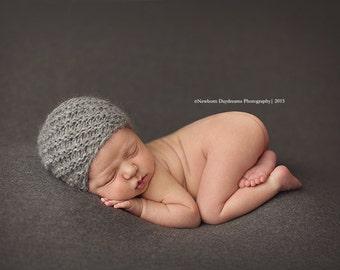Gray  newborn snail hat - newborn photo prop
