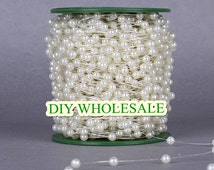 60meters ivory and white  pearl garland wedding centerpiece flower table candle decoration crafting DIY accessory