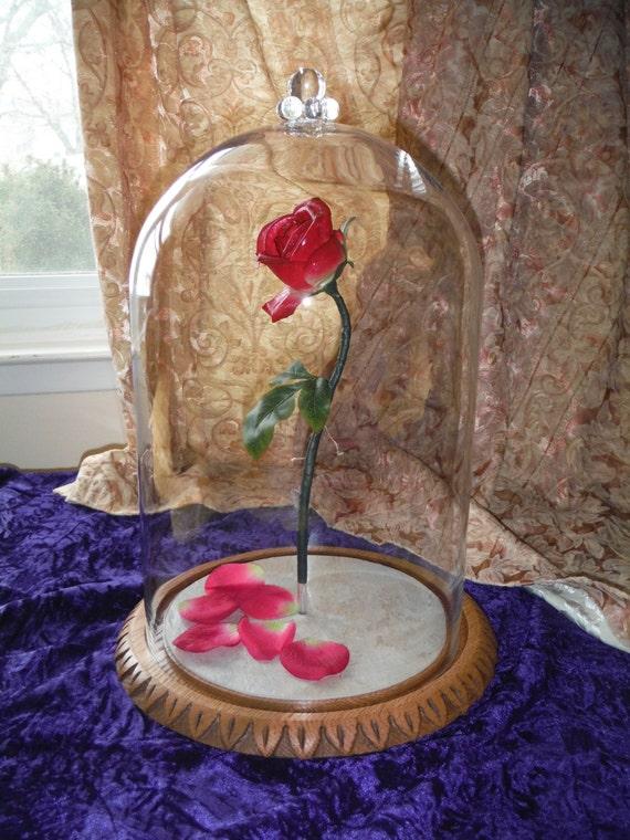 La belle et la b te enchant rose rose clair e flottant vie - Rose sous cloche la belle et la bete ...