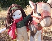 12 inch handmade horse and doll rider- both horse and rider are sold together in this charming set.  Made from upcycled materials.