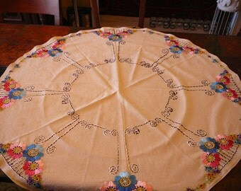Beautiful floss embroidered round linen tablecloth