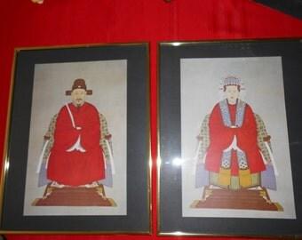 Asian Mandarin Man Woman Vintage New Windsor Art Prints Framed 18 x 14