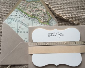 Letterpress, Vintage Map of Italy, Lined Thank You Cards