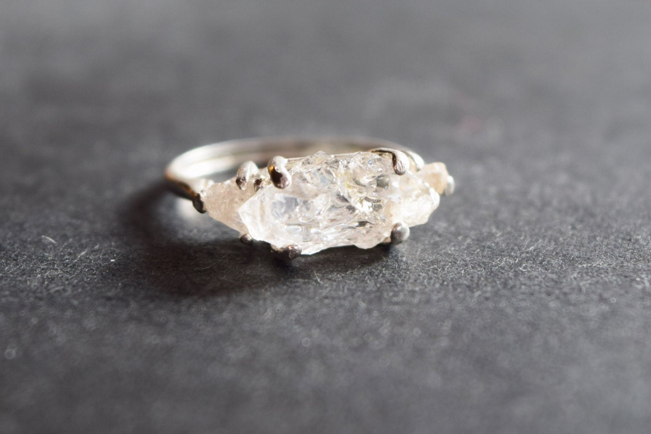Unique Engagement Ring Raw 3 Stone Diamond Ring Rough By