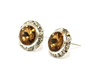 Light Colorado Topaz 13mm Stud Earrings made with Swarovski Crystal Elements