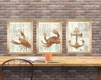 nautical theme art print, set of 3 nautical theme art print, sea , beach decor art print