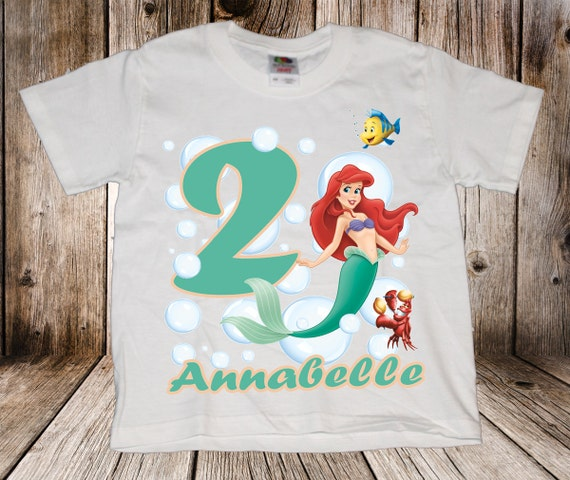 Personalized Disney Little Mermaid birthday t-shirt - Ariel, Flounder, Under the sea