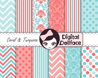 Coral and Turquoise Digital Paper, Chevron, Damask Scrapbook Paper