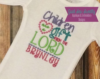 Children are a Gift from the Lord scripture bible verse - Baby Frame/Patch Applique Design - Embroidery Machine Pattern BLANK baby girl