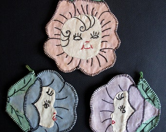 3 VINTAGE hand-made Applique's