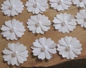 Lot of 24 unique pearl-topped classic white small daisy paper flower stickers