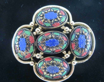 SARAH COVENTRY Molded Faux Mosaic Cabochon Brooch - Book Piece