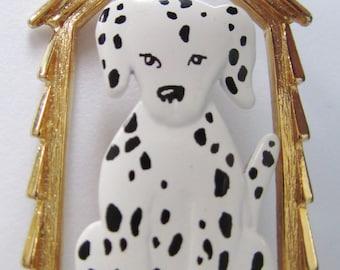 Rare JJ Jonette Dalmation in Doghouse Brooch pin