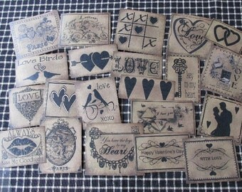 Set of (21) Assorted Sizes Valentine/Hearts/Love Prim Pantry Labels