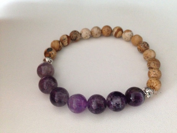 ADDICTION support bracelet in Amethyst and Picture Jasper, quit ...