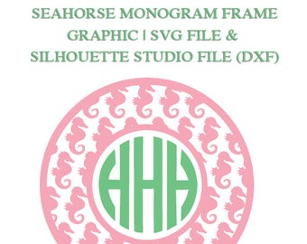 Seahorse Monogram Frame File for Cutting Machines | SVG and Silhouette Studio (DXF)