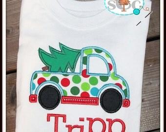 Monogrammed Christmas Tree Truck Shirt/Bodysuit