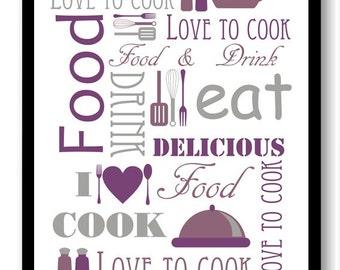 purple grey gray kitchen print food love to to cook eat food drink kitchen art - Purple Kitchen Decor