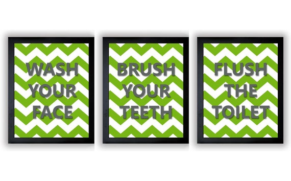 Lime green grey gray bathroom decor bathroom print set of 3 for Green and grey bathroom accessories