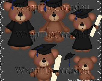 Blue/Black Graduation Bears Clipart