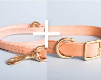 Natural Leash + 2.5 cm Collar set
